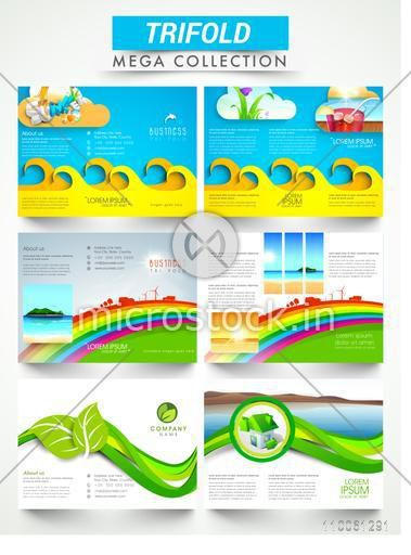 Mega collection of ecological three fold brochures or flyers presentation for business purpose.