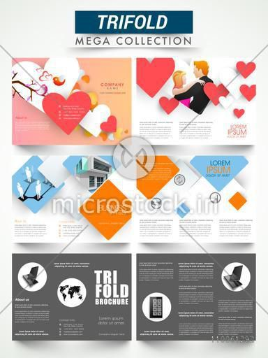 Mega collection of different three fold flyers or brochures for your business and party celebration.