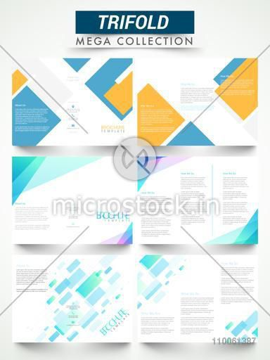 Abstract three fold flyers or brochures collection for your business reports and presentation.