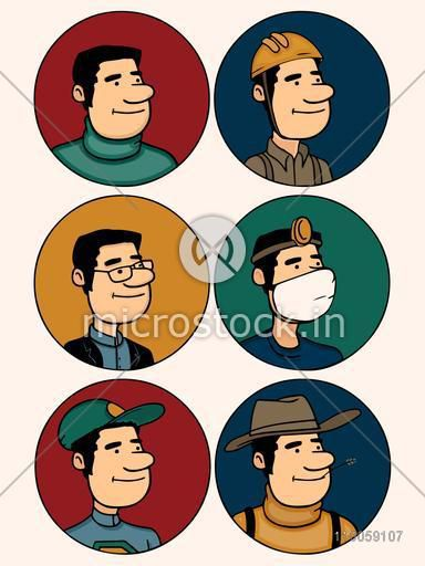 Set of  different professions men in colorful circles.
