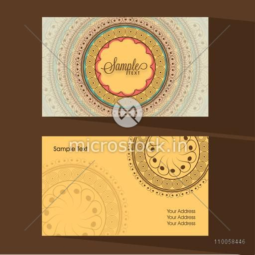 Front and back side presentation of designer business card decorated with traditional floral pattern.