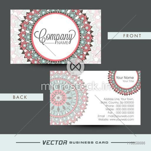 Professional business card or visiting card presentation decorated with beautiful floral pattern.
