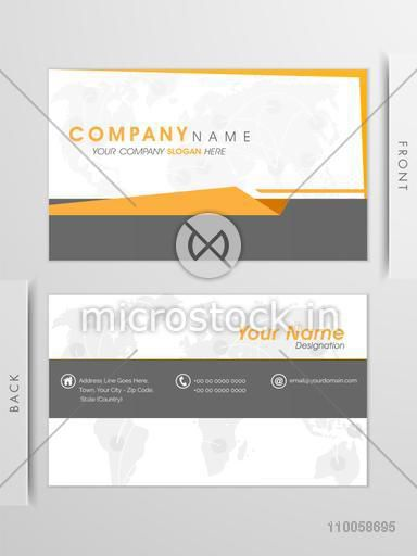 Front and back side presentation of a stylish business card or visiting card design with place holders for text.