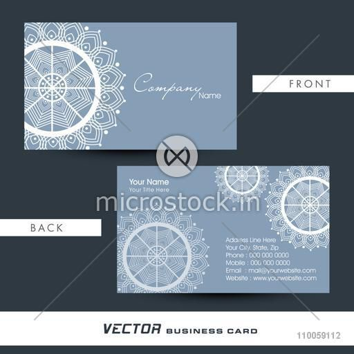Artistic business card or visiting card with front and back side presentation.