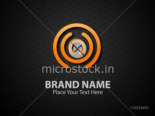 Stylish business symbol on black background.