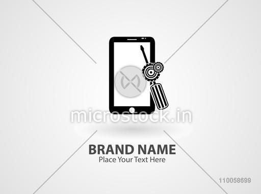 Stylish business symbol with tablet and screwdriver image.
