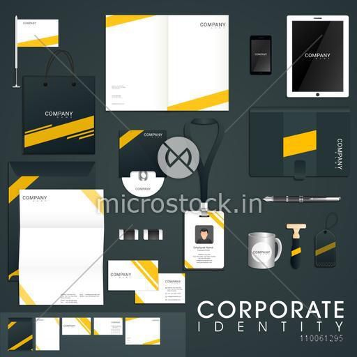 Stylish corporate identity kit including Letterhead, Envelope, File Folder, CD, Tablet, Smartphone, Visiting Card and Identity Card.
