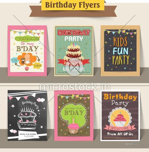 Vintage Birthday flyers decorated with delicious cakes and colorful buntings.