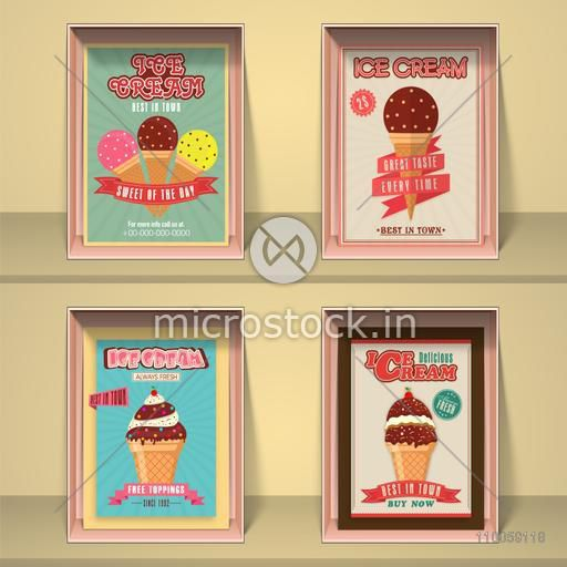 Vintage best in town Ice Cream menu card design for your corner or restaurant.