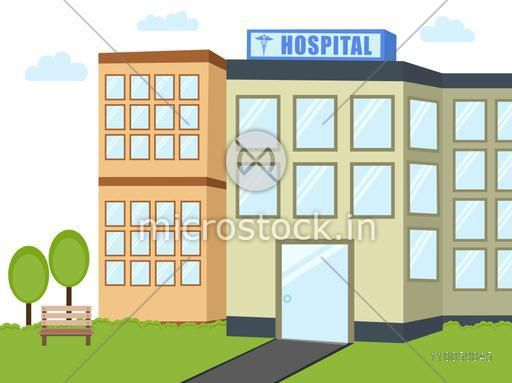 View of a city hospital building on nature background.