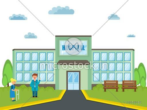 Illustration of a smiling doctor and an old lady patient with walker standing outside of a hospital.