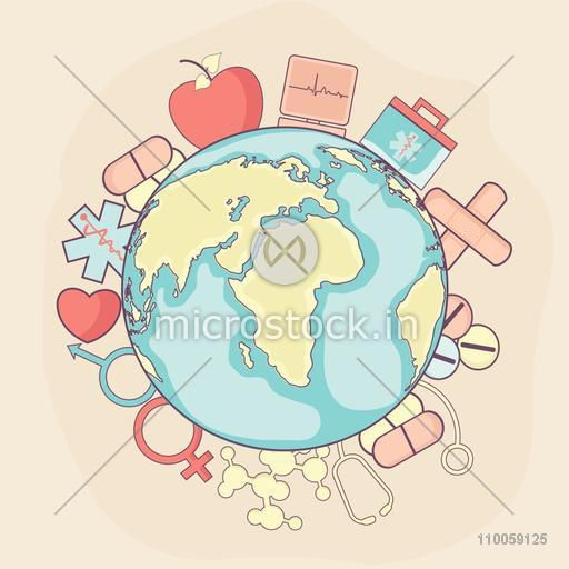 Healthy life concept with illustration of different medical elements around the earth.