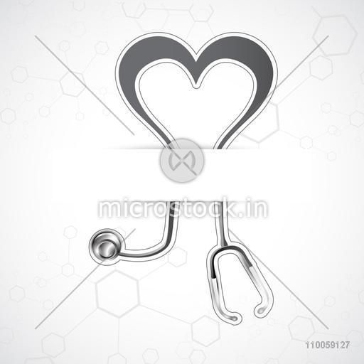 Health and Medical concept with stethoscope in heart shape on shiny molecules background.