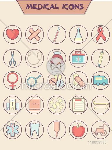 Set of different medical icons or elements for Health and Medical concept.
