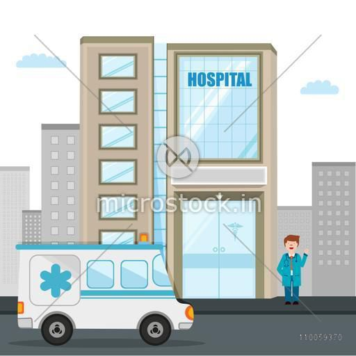 Tall hospital building with ambulance and illustration of a smiling doctor.