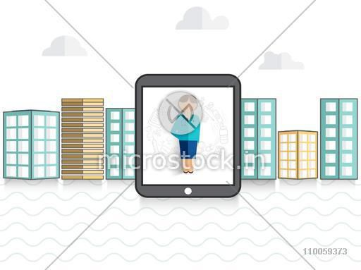 Health and Medical concept with a tablet showing female doctor and medical tools on city view background.