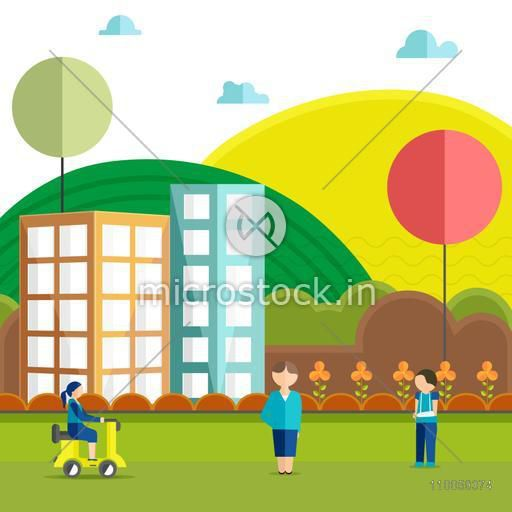 Health and Medical concept with illustration of injured boy on colorful city view background.