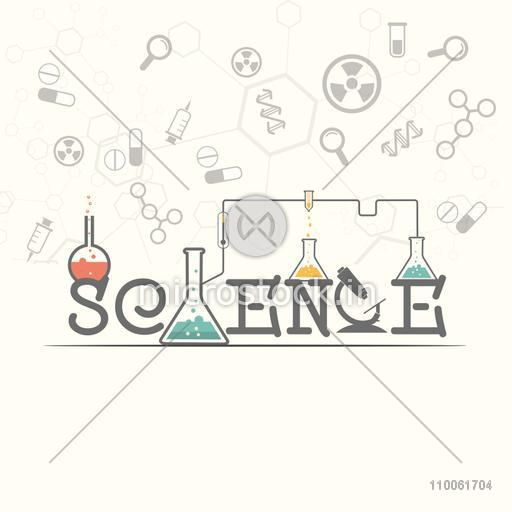 Stylish text Science with laboratory tools on medical background, can be used as poster, banner or flyer.