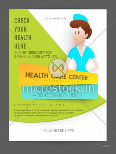 Health Care Center flyer presentation with 15% discount offer for intensive Care, can be used as template or brochure design also.