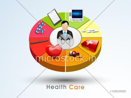 3D pie chart with illustration of a doctor and other medical supplies or accessories for Health Care concept.