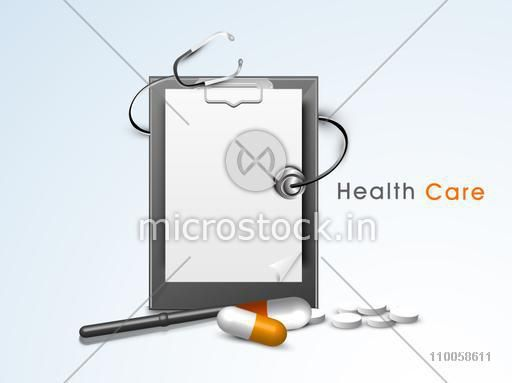 Health Care concept with doctor's prescription pad, stethoscope and medicines on sky blue background.