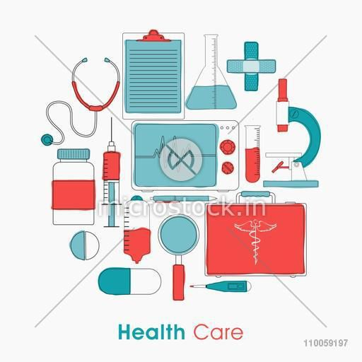 Set of Health Care elements on white background for Health and Medical concept.