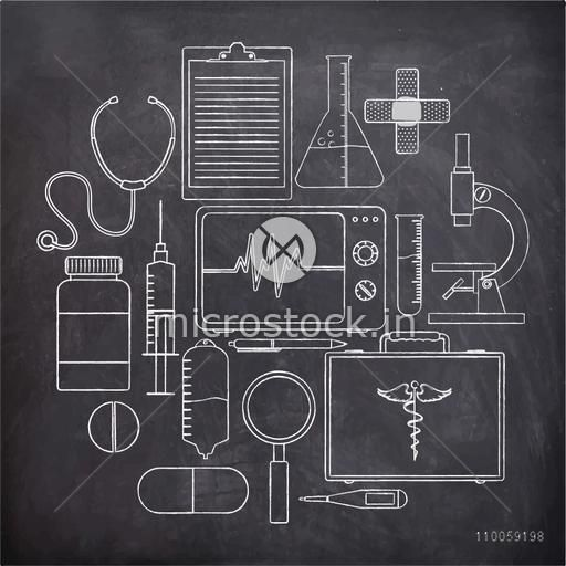 Set of Medical elements drawn by white chalk on blackboard.