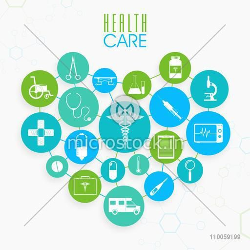 Set of different Health Care elements in heart shape on molecules background.
