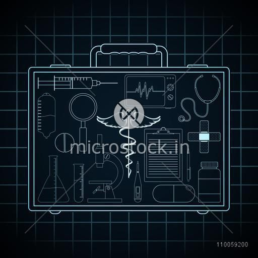 Collection of various medical elements in doctor's briefcase on graph paper background.