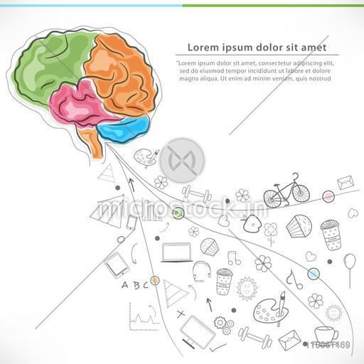 Health and Medical concept with colorful illustration of human brain and various elements or ways for a healthy life.