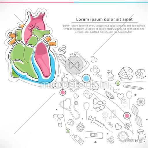 Health and Medical concept with colorful illustration of human heart and various elements or ways for a healthy life.