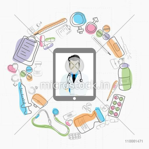 Digital tablet screen showing illustration of doctor and different medical objects on white background for Health and Medical concept.