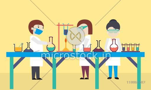 Cartoon of scientists working in science laboratory.