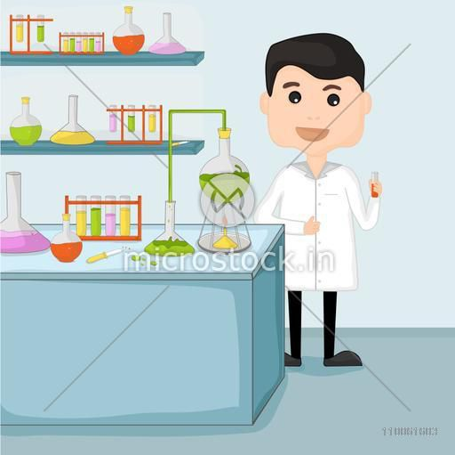 Cartoon of a young scientist man holding test tube for research in chemical laboratory.