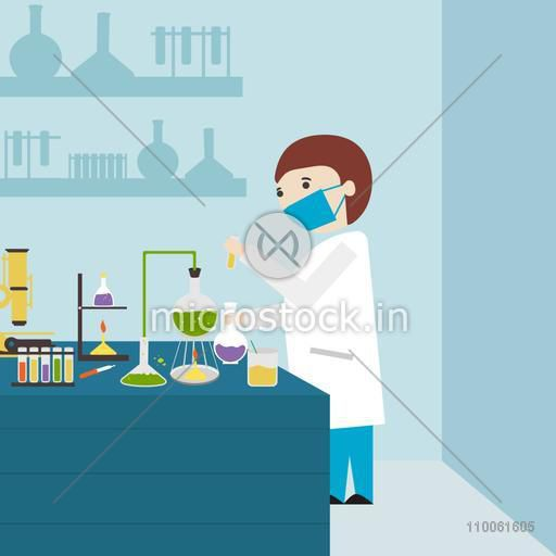 Cartoon of a young scientist working in laboratory with test tube and flask.