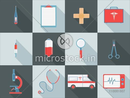 Set of different Medical elements as Thermometer, Prescription Pad, Band-Aid, Briefcase and Ambulance etc for Health Care concept.