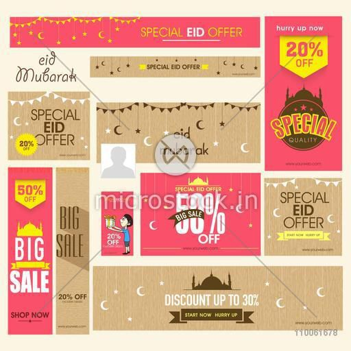 Social media ads, header or banner set of Big Sale with discount offers on occasion of Islamic festival, Eid Mubarak celebration.