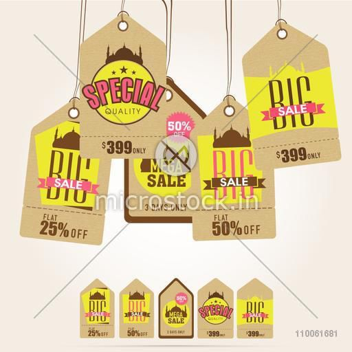 Stylish Sale tags decorated with Mosque for Muslim community festival, Eid Mubarak celebration.