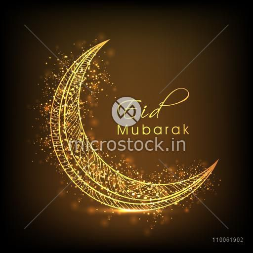 Golden floral design decorated moon on shiny brown background for Muslim community festival, Eid celebration.