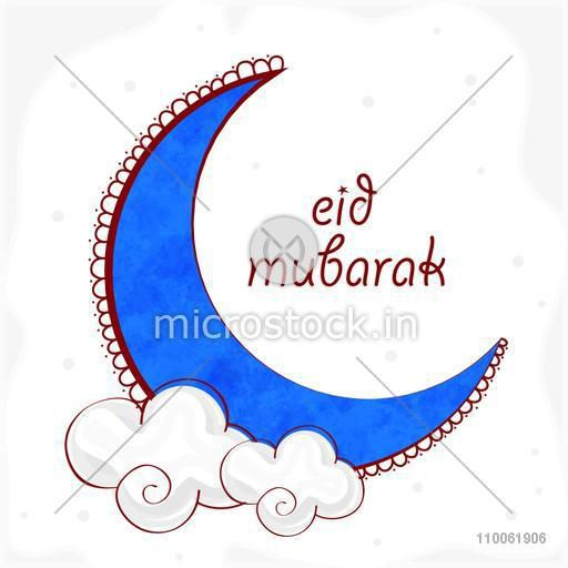 Creative blue moon on clouds for Muslim community festival, Eid celebration.