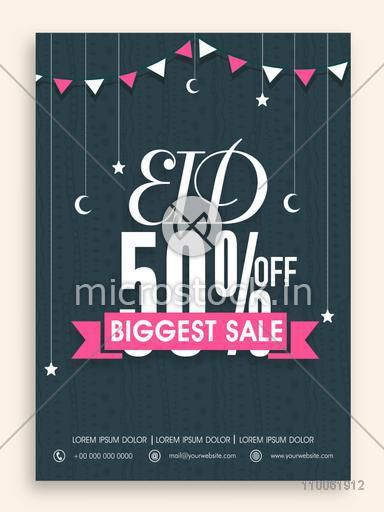 Biggest sale poster, flyer or banner design decorated with crescent moons and stars for Muslim community festival, Eid celebration.