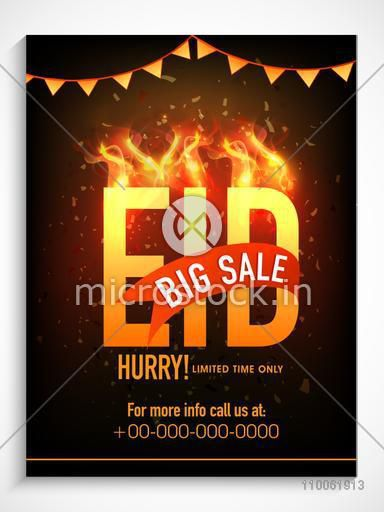 Creative poster, banner or flyer design with shiny text Eid in fire for Muslim community festival celebration.