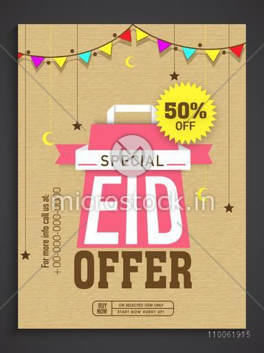 Special offer sale poster, banner or flyer design decorated with moons and stars for Muslim community festival, Eid celebration.