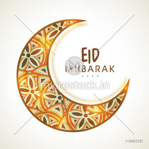 Glowing crescent moon decorated with traditional floral pattern for Muslim community festival, Eid celebration.