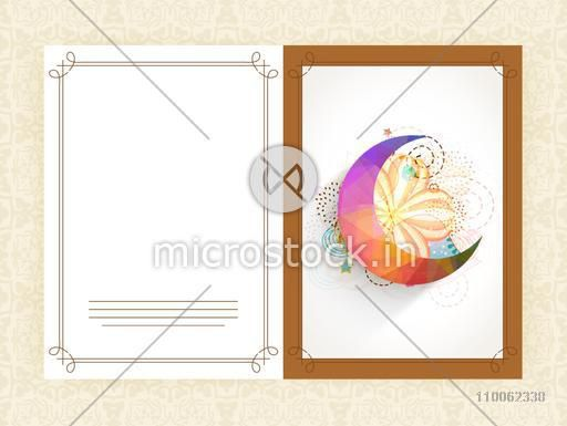Elegant greeting card design decorated with colorful crescent moon on floral background for Muslim community festival, Eid celebration.