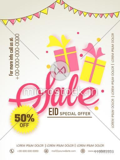 Special offer sale with discount offer for Muslim community festival, Eid celebration, can be used as poster, banner or flyer design.