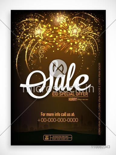 Shiny fireworks decorated sale poster, banner or flyer for Muslim community festival, Eid celebration.