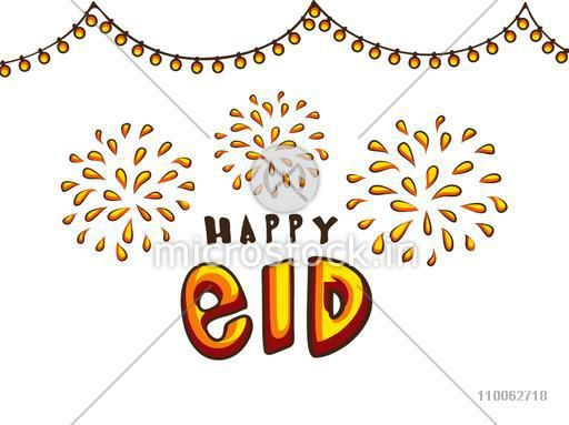 Stylish text Happy Eid on fireworks decorated background, can be used as poster, banner or flyer design for Muslim community festival celebration.