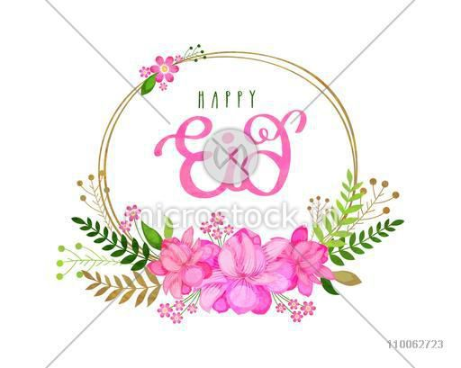 Beautiful pink flowers decorated frame on white background for Muslim community festival, Eid Mubarak (Happy Eid) celebration.