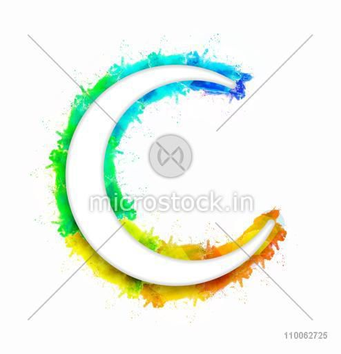 Glossy crescent moon on color splash background for Islamic festival, Eid Mubarak celebration.